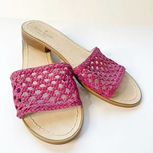 NEW KATE SPADE Berlin Pink Woven Slip On Sandals 9